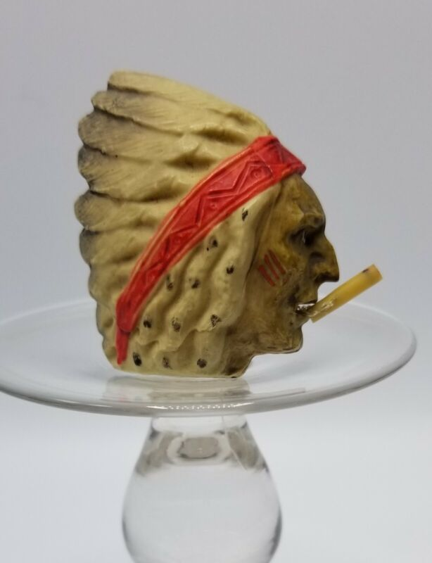 Antique Indian Chief With Cigarette Celluloid Sewing Tape Measure
