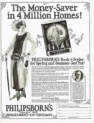 1920s BIG Vintage Philipsborn's Fashion Style Guide Flapper Art Print Ad