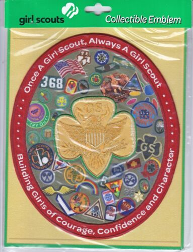 """Extra Large Collectible Girl Scout Patch Emblem with Gold Trefoil """"Big Bertha 2"""""""