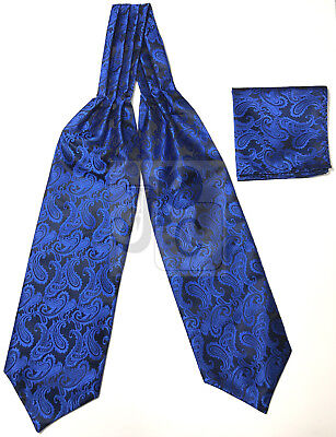 Royal Blue Paisley Italy Design Free Style Casual Ascot Cravat And Pocket Square