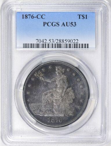 1876-CC Trade Silver Dollar Carson City PCGS AU53 Rare Toned