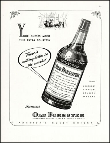1942 Old Forester Bourbon Whisky Christmas Season vintage art print ad L89