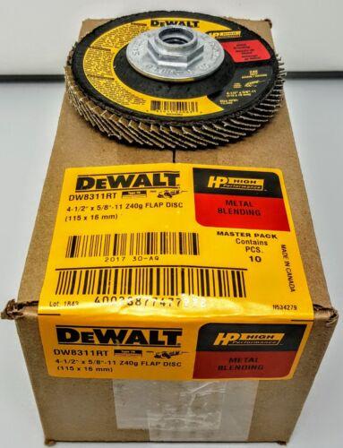 "(10) DEWALT DW8311RT 4-1/2"" x 5/8""-11 Thread 40 grit High-Performance Flap Discs"