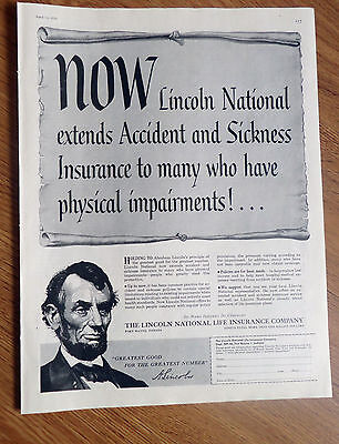 1956 Lincoln National Life Insurance Ad Extends To Many Have Physical Impairment