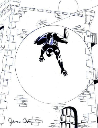 WALL CRAWLING SPIDER-MAN WITH SPOTLIGHT ORIGINAL COMIC ART ON CARD STOCK