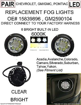 2007-2016 CHEVY TAHOE SUBURBAN GMC COLORADO CLEAR BRIGHT LED FOG LIGHTS LAMPS