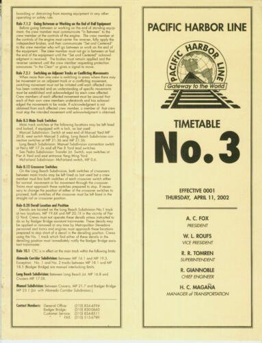 PACIFIC HARBOR LINE ETT SYSTEM TIMETABLE: #3  4-11-2002.