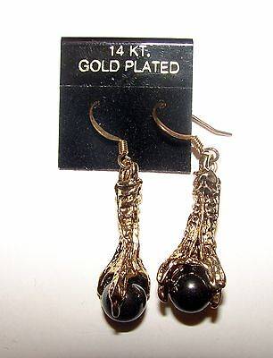 NEW 14K GOLD PLATED DRAGON CLAW HOLDING BLACK CRYSTAL BALL EARINGS - Gold Plated Globe