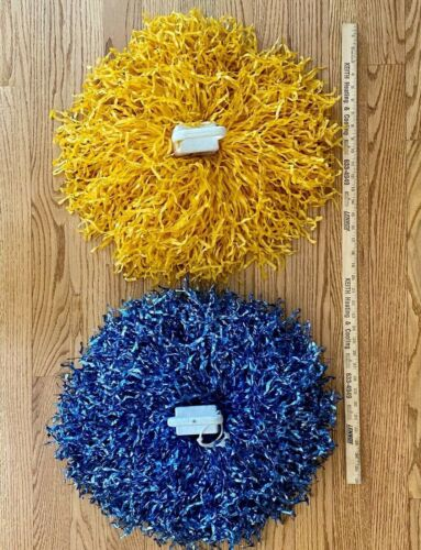 Large Vintage Blue & Gold/Yellow Cheerleader Pom Poms With Handles