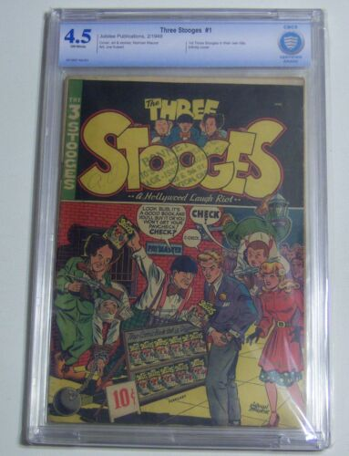THREE STOOGES #1 CBCS/CGC/PGX 4.5 OW 1949 JUBILEE PUB. 1ST THREE STOOGES IN OWN