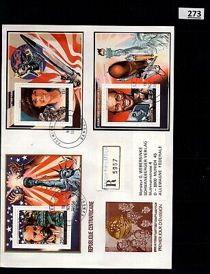 # CENTRALAFRICA - R-FDC - SPACE - SPACESHIPS - 1986 - STATUE OF LIBERTY - USA