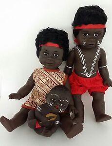 Australian Aboriginal Doll Girl Yellow Dress, Boy Black 35cm or 13