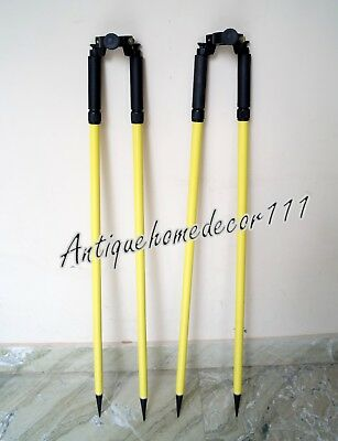 Bipod Set Of 2 Pcs Thumb Release Yellow Range Prism Pole Surveying Seco Topcon