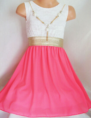 GIRLS WHITE LACE GOLD TRIM NEON PINK CHIFFON CONTRAST PARTY DRESS age 7-8 (Girls White Party Kleider)