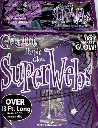 13 FEET Stretchy Jumbo Purple Halloween Spider WEBS + 4 Spiders Black Light Glow