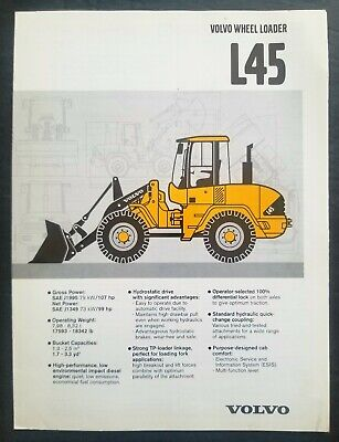 Volvo L45 Wheel Loader Fold Out Spec Sheet Brochure