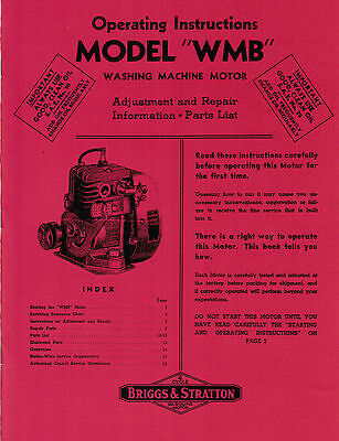 Briggs & Stratton WMB WM WI Operating Instructions Manual Parts Book Hit & Miss