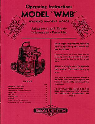 Briggs & Stratton WMB WM WI Operating Instructions Manual Parts Book Hit & Miss