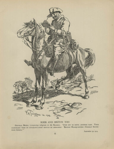 Antique Print - WW1 - Boer And Briton Too - Punch, 1915