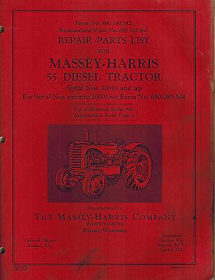 Massey-harris Vintage 55 Diesel Tractor Parts Manual Original 690 145 M2