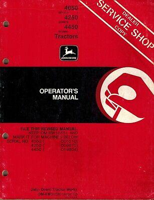 John Deere 4050 4250 4450 Tractors Operators Manual Jd
