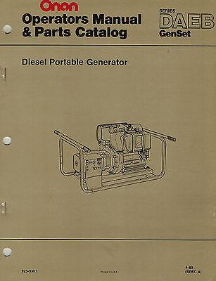 Onan Daeb Diesel Portable Generator Operators Parts Manual 1980 923-0301