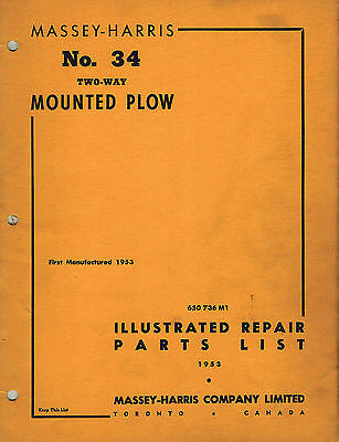 Massey-harris Vintage 34 Two-way Mounted Plow Parts Manual 1953