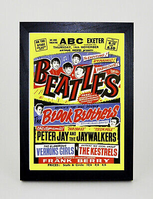 THE BEATLES ABC Exeter Advert Vintage style Framed A3 Poster Print MADE IN UK