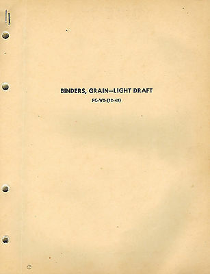John Deere Vintage Grain Binder Light Draft Parts Manual Jd Pc-w2-12-48