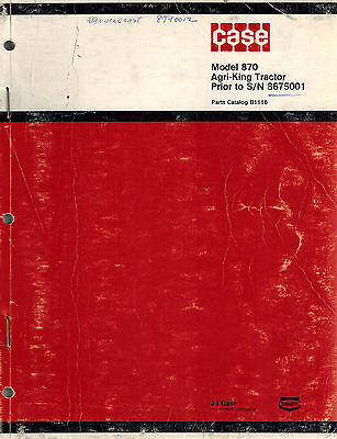 Case 870 Tractor Parts Manual B1116 Prior To Sn 8675001
