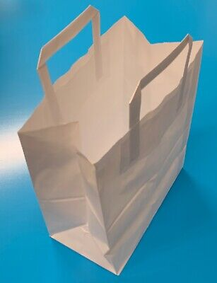 250 x KRAFT PAPER LARGE WHITE  FOOD CARRIER BAGS WITH HANDLES PARTY TAKEAWAY