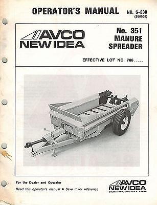 New Idea 351 Pto Manure Spreader Operators Manual