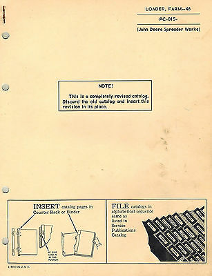 John Deere Vintage 46 Farm Loader Parts Manual Jd Pc-815