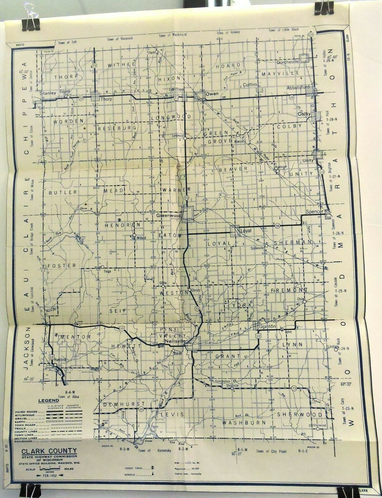 Clark County, Wisconsin 1952 State Highway Commission 25 X 19 Map. - $9.95