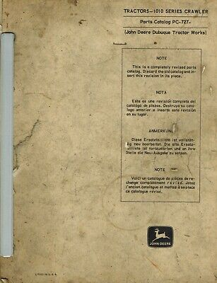 John Deere 1010 Crawler Parts Manual Pc-727 Jd