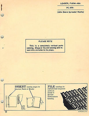 John Deere Vintage 46a Farm Loader Parts Manual Jd Pc-879