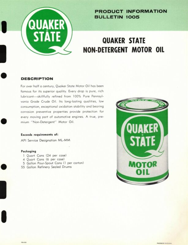 "Vintage 1978 QUAKER STATE ""NON-DETERGENT MOTOR OIL CAN"" Jobbers SELL SHEET"
