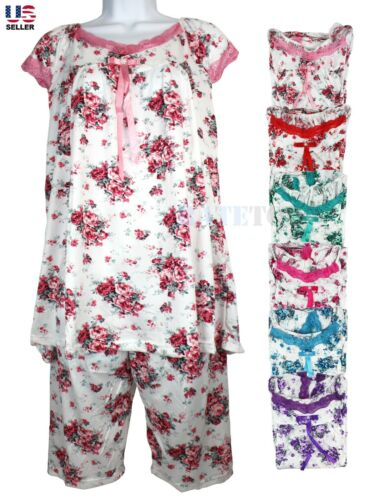 Women Cotton Pajamas Set 2Pcs Top Bottom Sleepwear Nightwear Floral Short Sleeve