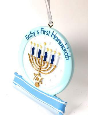 New Baby Boy 1st Hanukkah Menorah Resin Ornament - Hanukkah Ornaments