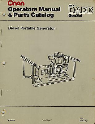 Onan Dadb Diesel Portable Generator Operators Parts Manual 1980 923-0300