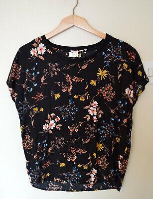 Only M&Co Jacqueline de YONG Size UK 10 Black Floral Multicoloured Tshirt Top