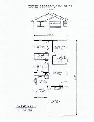 1147 Square Foot Three Bedroom House Plan