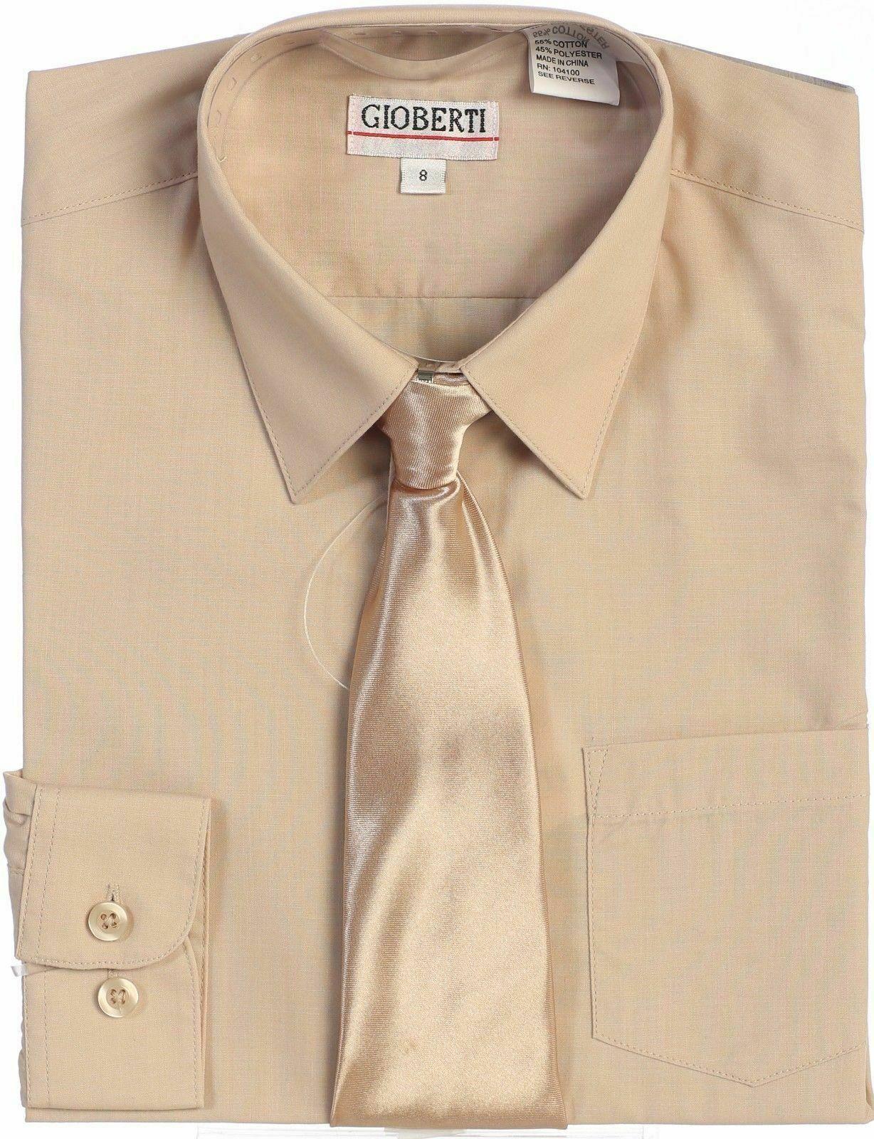 Boys Dress Shirt Solid Tie Long Sleeve Toddler Kids Formal P