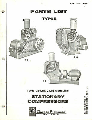 Chicago Pneumatic Vintage Type Pb Pm Pe Station Compressors Parts Manual 1969