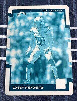 2017 Plates & Patches Donruss CASEY HAYWARD Cyan Printing Plate 1/1 - Chargers ()