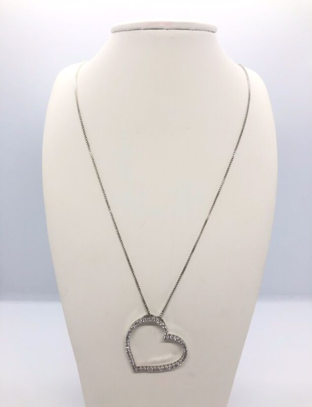 """Open Heart Pendant Necklace Sterling Silver Clear Stones 241/2"""" Signed 925 Italy"""