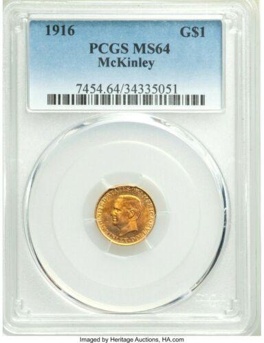 1916 McKinley Gold Dollar MS64 PCGS... Gold Commemorative $1