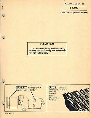 John Deere Vintage 68 Auger Wagon Parts Manual Pc-780
