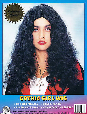 Gothic Girl Long Black Wig Sexy Scary Witch Zombie Hippie Wavy Curly Halloween  - Long Halloween Zombie Girl