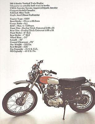 1974 NOS TRIUMPH MOTORCYCLE FOLDER TR5T TROPHY TRAIL TR5MX 500 ORIGINAL BROCHURE